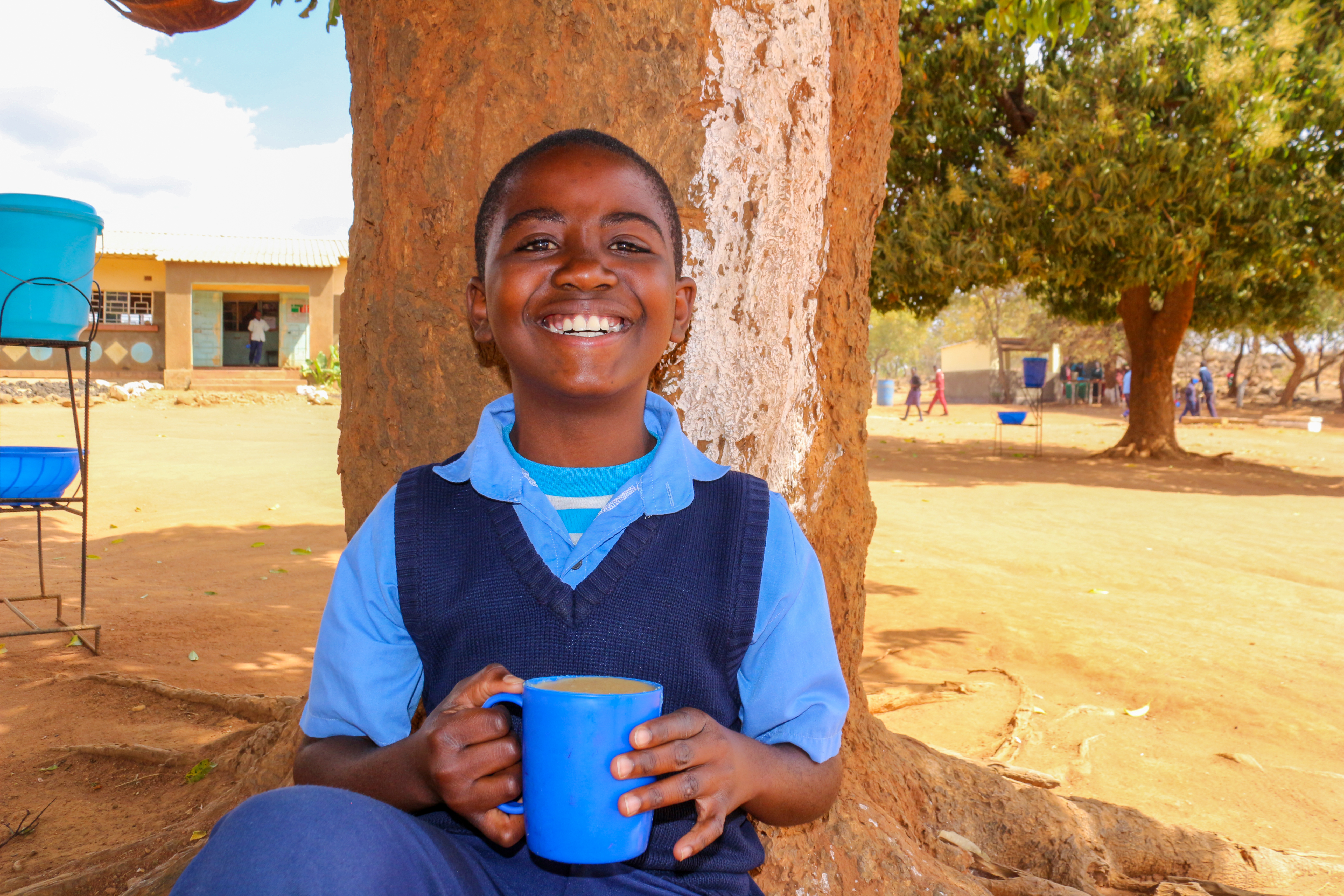 Alpha attends Kwenje Primary School in Zambia, where we recently began serving Mary's Meals.